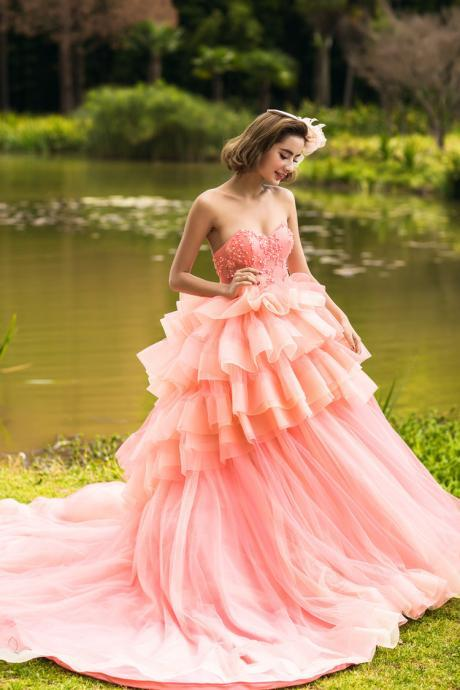 Prom Dress,Wedding Dress, Strapless Wedding Dress, Sweetheart Wedding Dress, Ruched Wedding Dress, Beaded Wedding Dress, Corset Wedding Dress,Tulle Wedding Dress, Tiered Wedding Dress, Beading Wedding Dress, Ball Gown Wedding Dress
