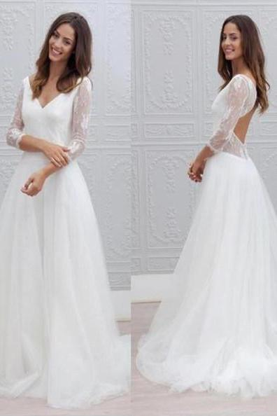Lace Long Sleeves Wedding Dress,Open Back V neck Wedding Dresses, Formal Elegant Party Dress, Cheap Wedding Dress, Cheap Bridal Gowns