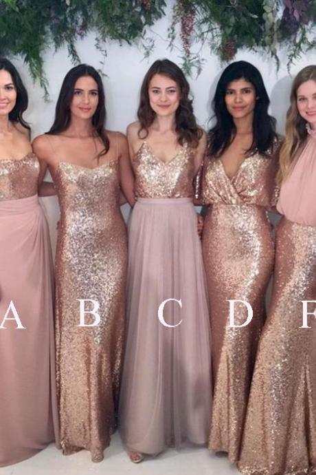 Charming Bridesmaid Dresses,Sleeveless Bridesmaid Dresses,Sequin Bridesmaid Dresses,Long Bridesmaid Dress