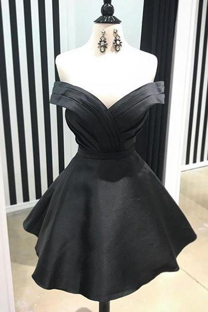 Cute Black Off Shoulder Satin Homecoming Dress,Pleated Short Prom Dress