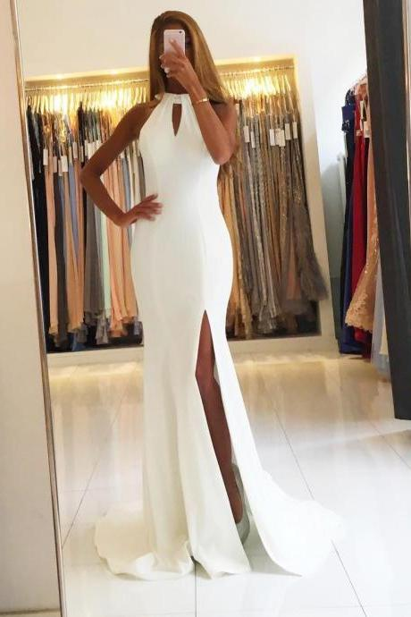 White Halter Mermaid Long Prom Dress,Sweep Train Evening Dress,Slit Side White Prom Dress