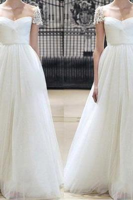 Charming Prom Dress,Beautiful Prom Dresses,Long Evening Dress,Tulle White Prom Dresses