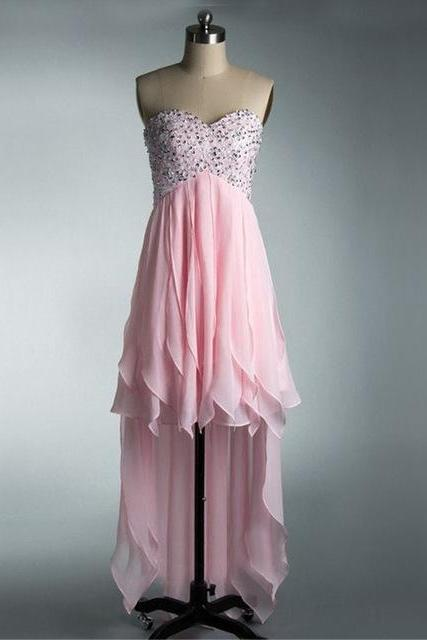 High Low Pink Prom Dress Beading Chiffon Long Back Short Front Teens Prom Party Dress for Homecoming Graduation