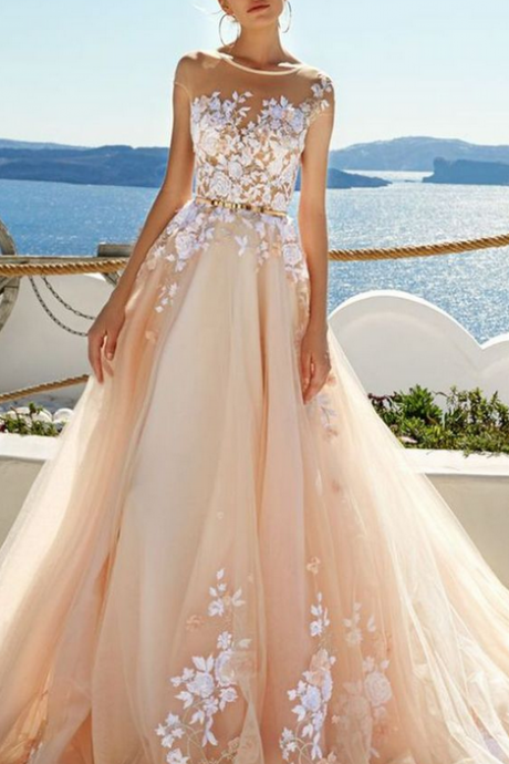 Champagne Prom Dress, Tulle Lace Party Dress, Charming Long Evening Dress