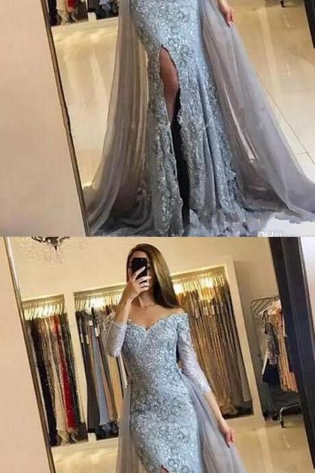 Fashion Mermaid Off-The-Shoulder Long Sleeves Split Front Lace Long Prom Dress,